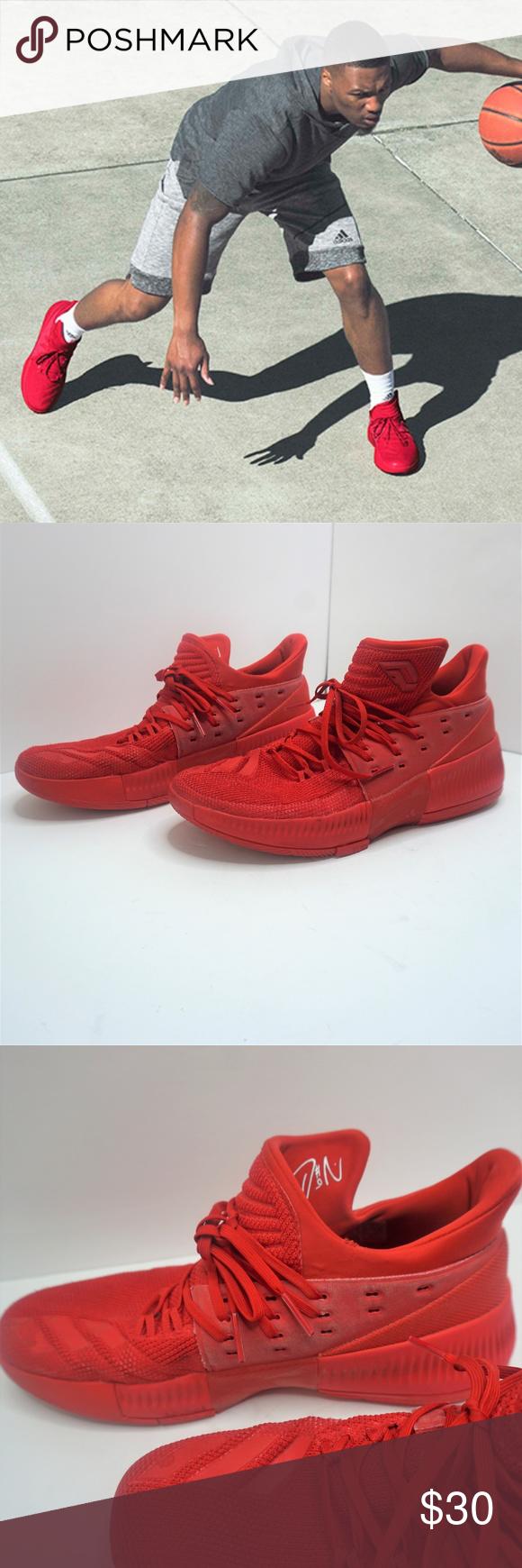 D LILLARD ADIDAS DAME 3 Roots triple red 11.5   Adidas dame. Adidas. Red adidas