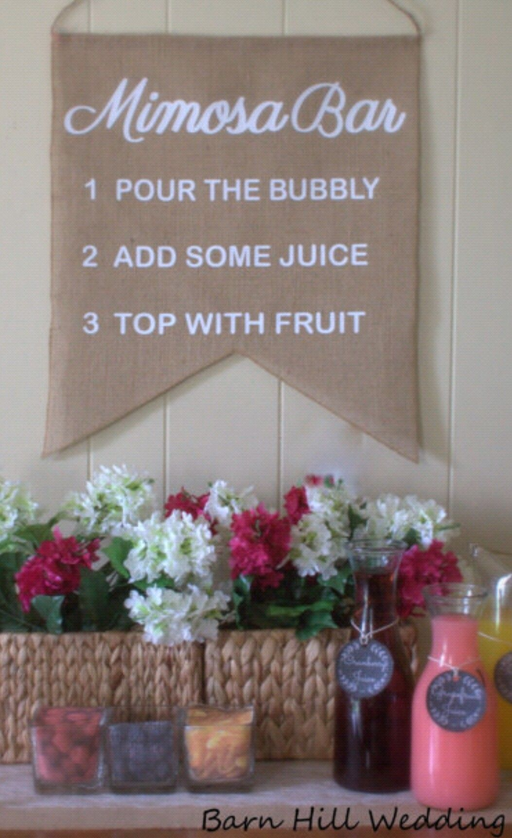 """Mimosa Bar Sign Great for Bridal Showers or any event!! Size 18"""" x 22"""" find it at www.barnhillweddingdecor.com"""