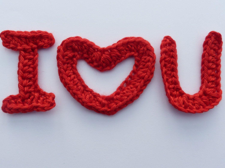 💝 Dos namorados AppliqueCcroché 'Eu Te Amo'-  /  💝 Valentine Crochet Applique 'I Love You' -