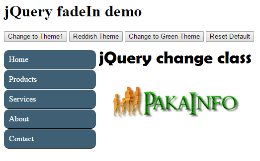 jQuery change class Examples with Demo | jQuery | Programming