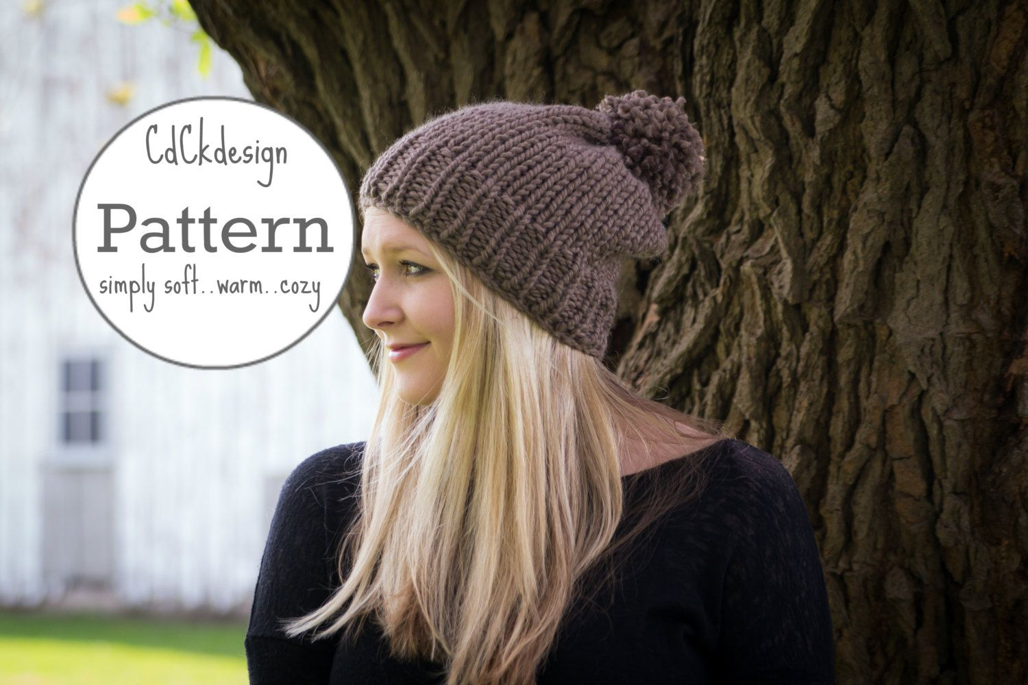 Knitting Pattern / Chunky Knit Hat / Ribbed Knit Toque Beanie Hat ...