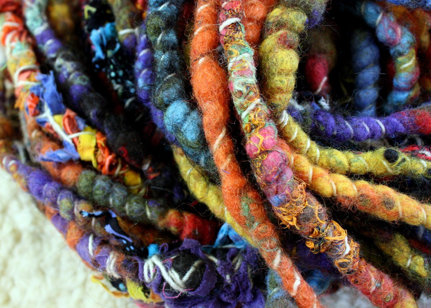 Mondo Wrapped Raggedylocks - Faerie Spun Dreads - United Colors - Handmade Felted Wool Double Ended Dread Falls. $102.00, via Etsy.
