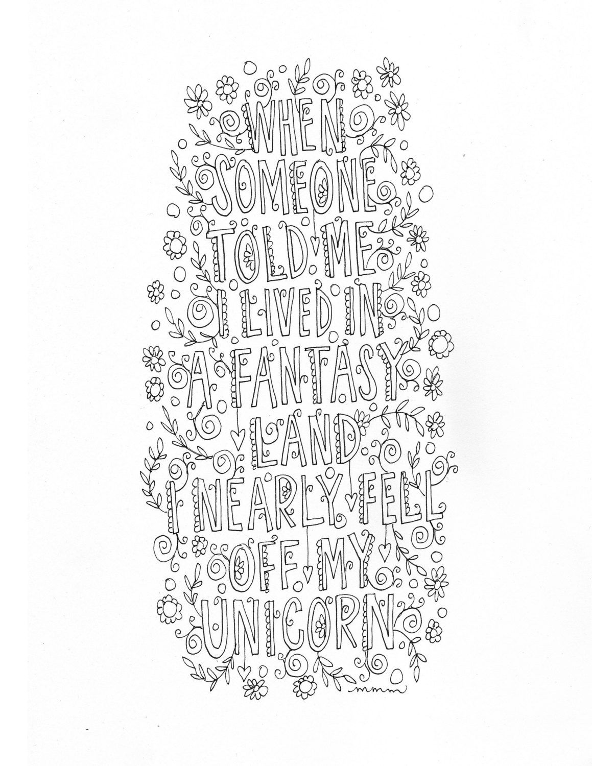 Quote Coloring Page INSTANT DOWNLOAD Line Art Illustration Personal Use By Mollymattin
