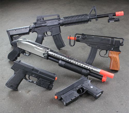 New Lot 5 Airsoft Gun Combo M16 Rifle Shotgun UZI Pistol
