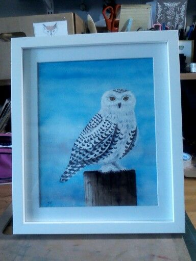 Watercolour of a snowy owl