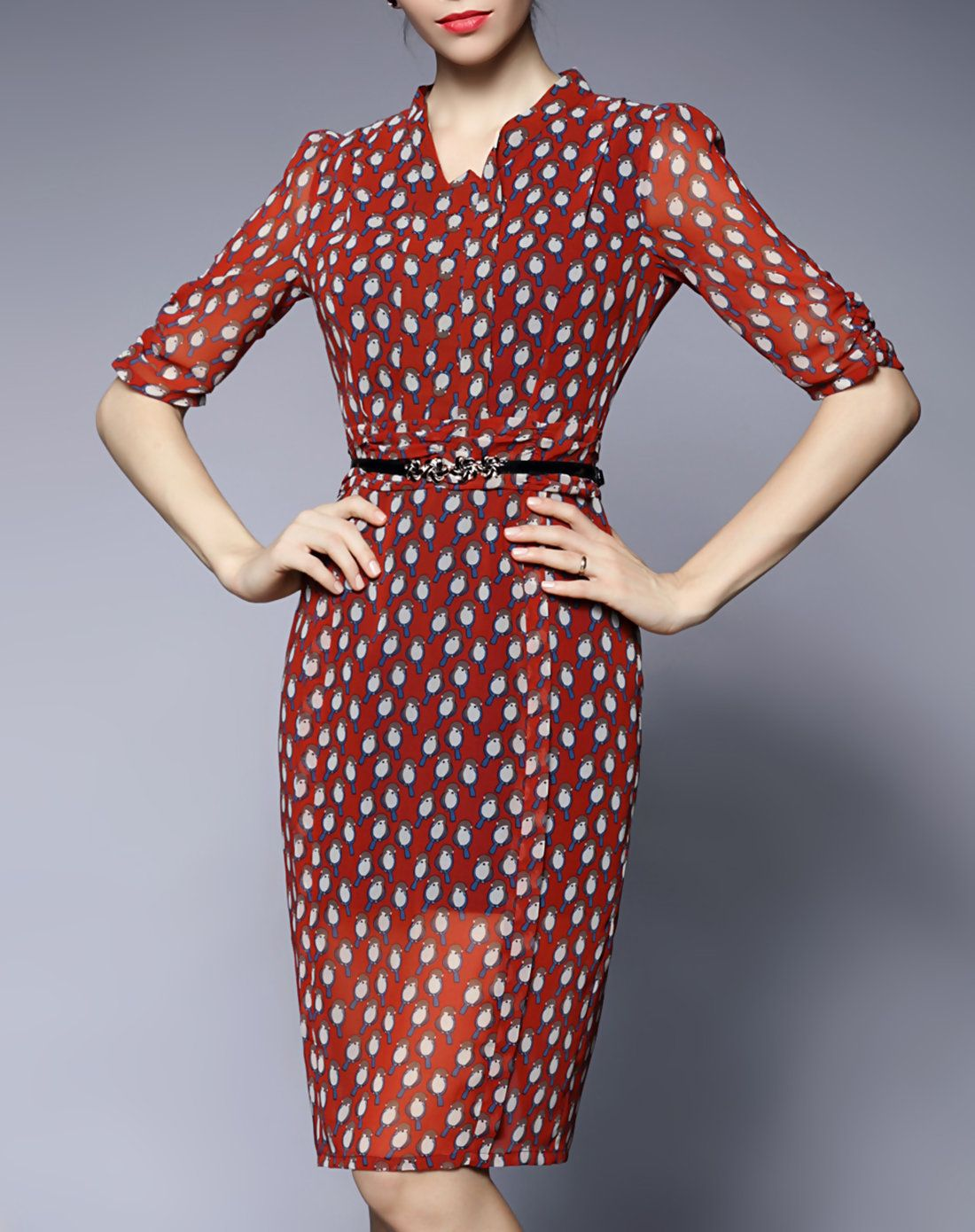 c2e617955bd34  AdoreWe  VIPme Sheath Dresses - GYALWANA Red Bird Pattern Print Chiffon  Belted Midi Dress - AdoreWe.com