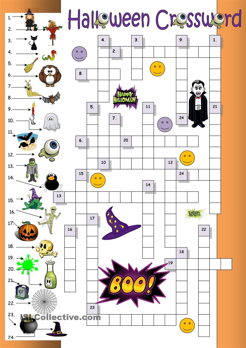 Halloween Crossword For Beginners More