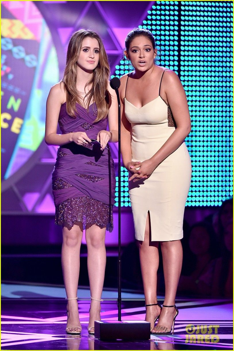 Laura Marano And Bethany Mota On Stage To Present An Award At The