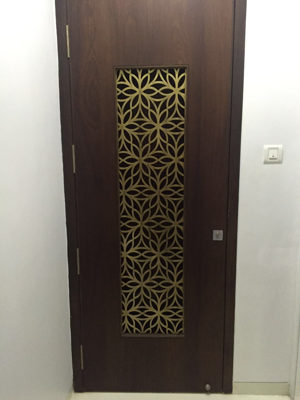 Metal laser cut main door grill in brass antique finish for Main door design latest