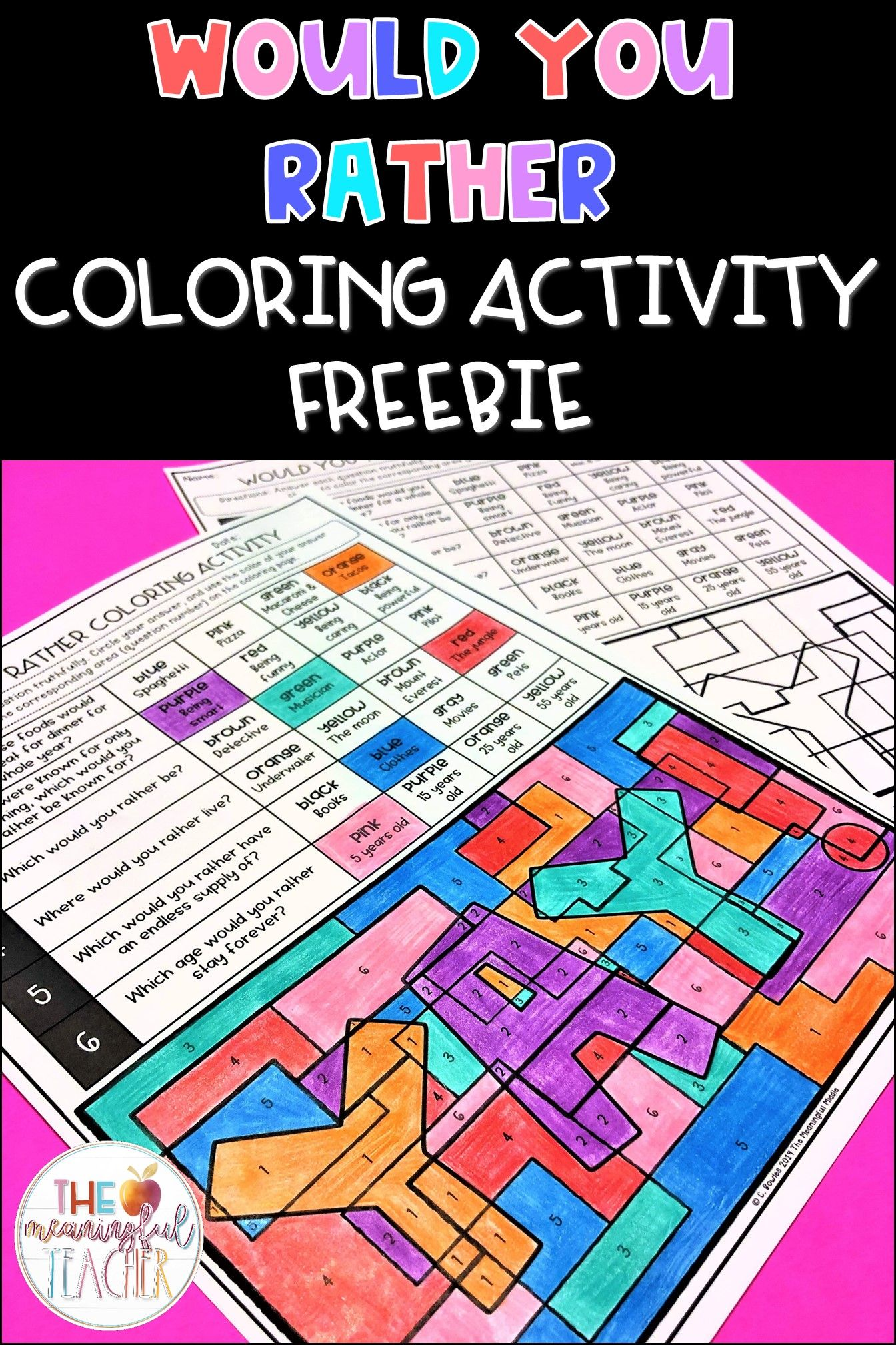 Free Would You Rather Coloring Sheet Activity For Students