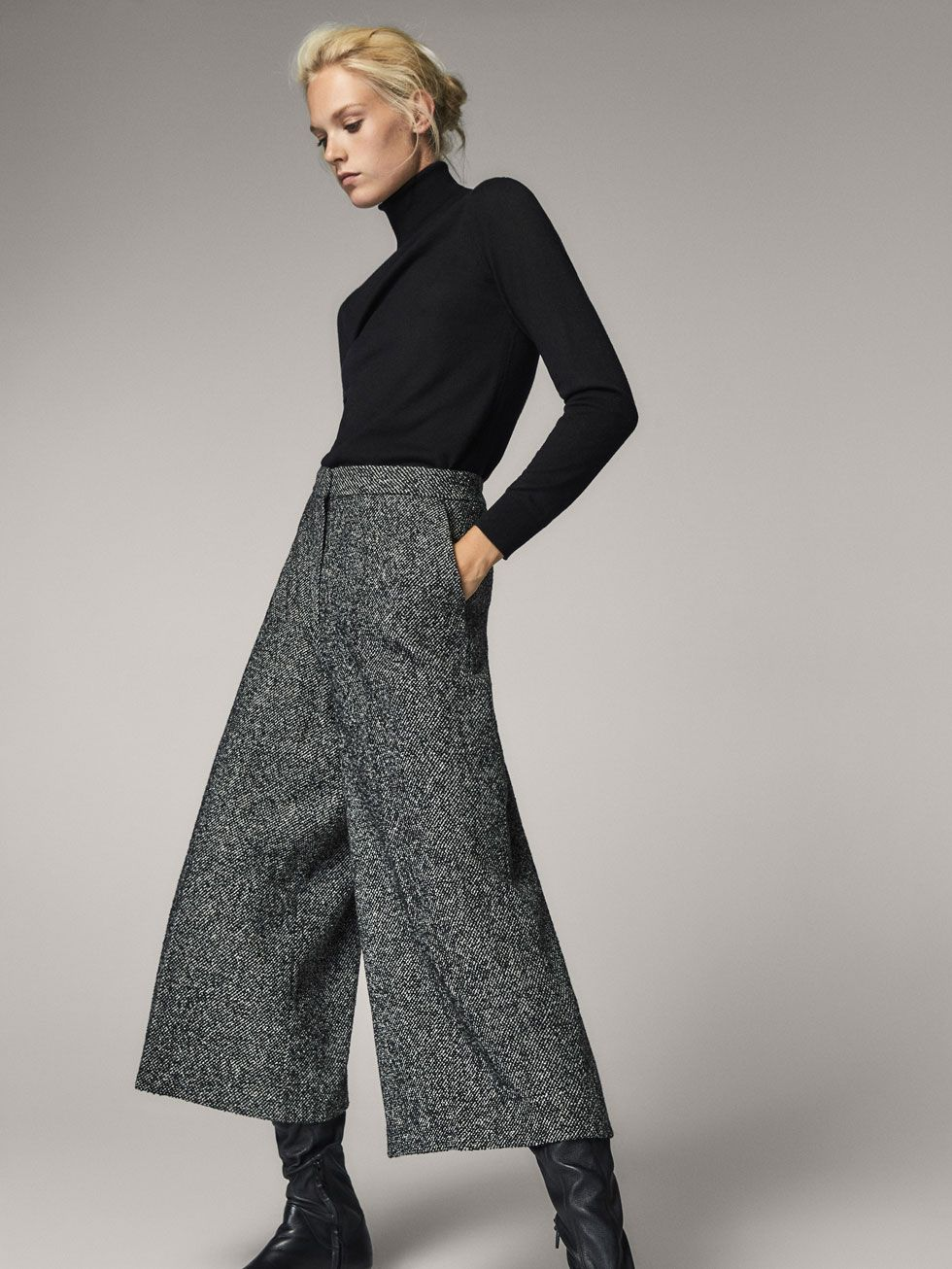Women´s Winter Bouclé Fall 2017 Wool Massimo Trousers At Fit Culotte jqcL5R3A4