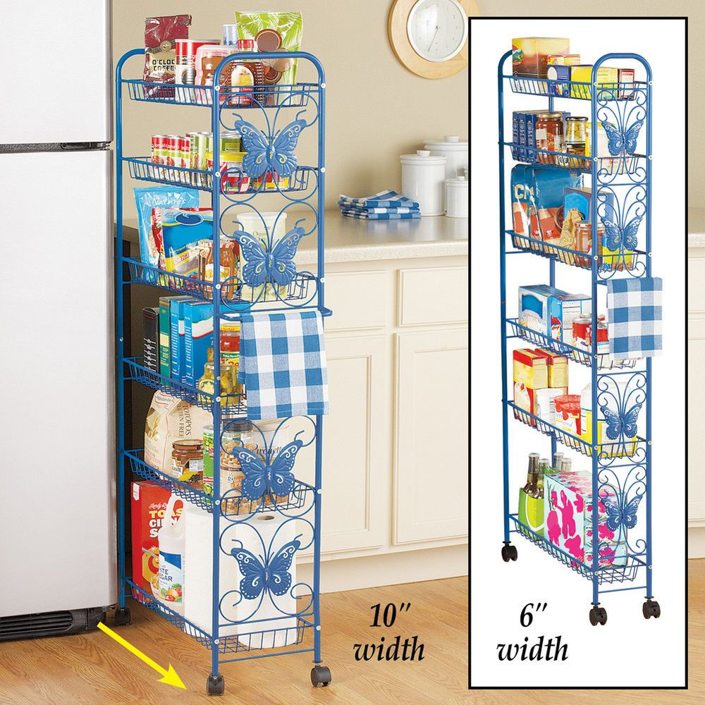 Metal butterfly pantry rolling cart kitchen storage tier island