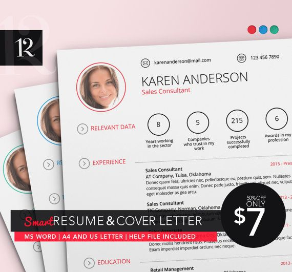 Resume Template / CV Template and Cover Letter / Smart Resume Design - Retail Management Cover Letter