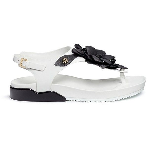 b8ce7e122d12 Tory Burch  Blossom  floral appliqué leather thong sandals ( 295) ❤ liked on