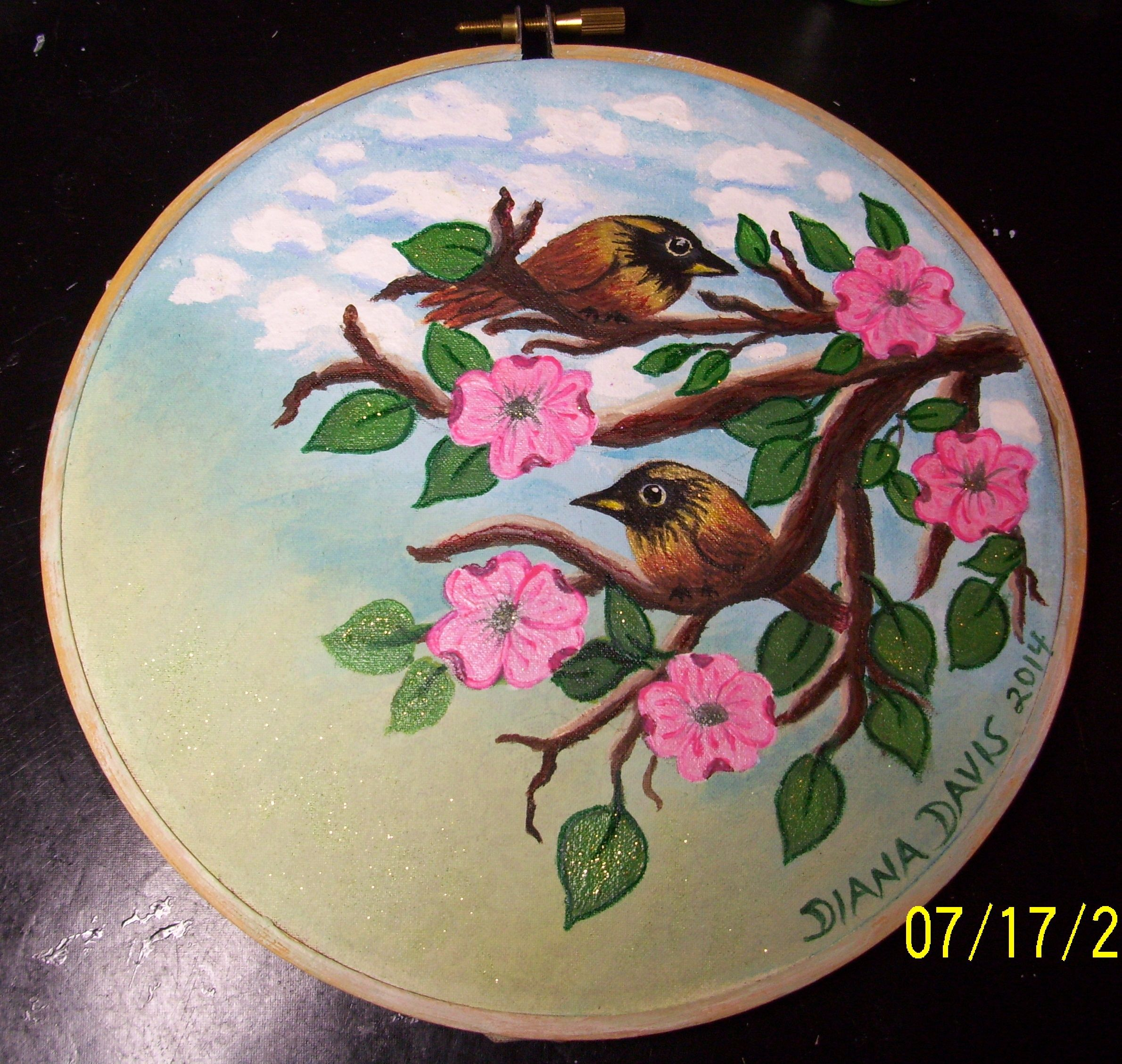 Wall hanging birds in dogwood tree done on fabric