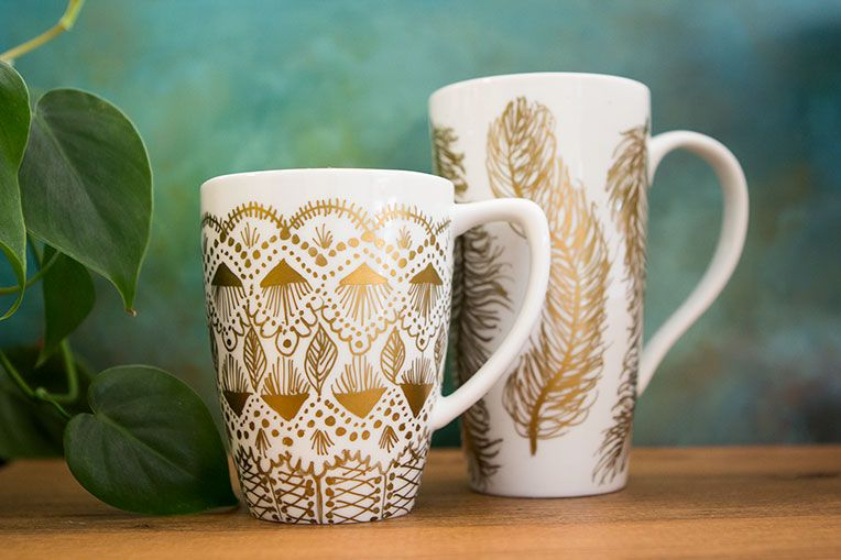 DIY Sharpie Art Ideas Gold Craft And Gold Diy - Diy creative painted mug
