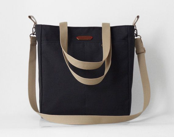 Unisex Dark navy canvas tote / diaper bag / shoulder by BagyBags