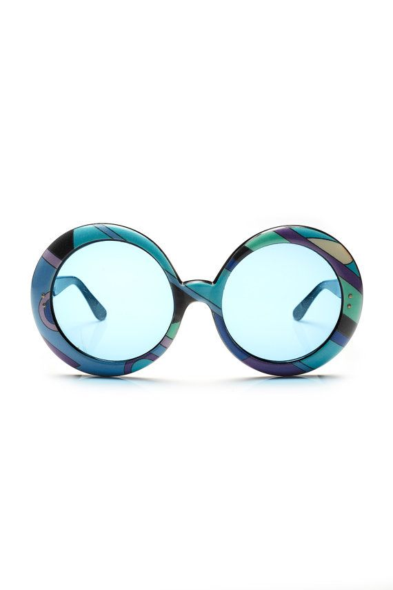 Further REDUCTION were 650 now 450 amazing & iconic vintage 60's PUCCI geometric print blue lense oversized round sunglasses