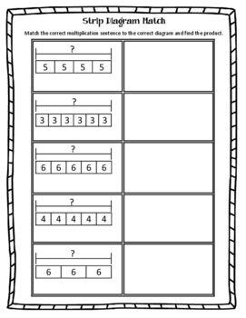 Strip Diagram Match Multiplication Strip Diagram Teaching Multiplication Math Teks