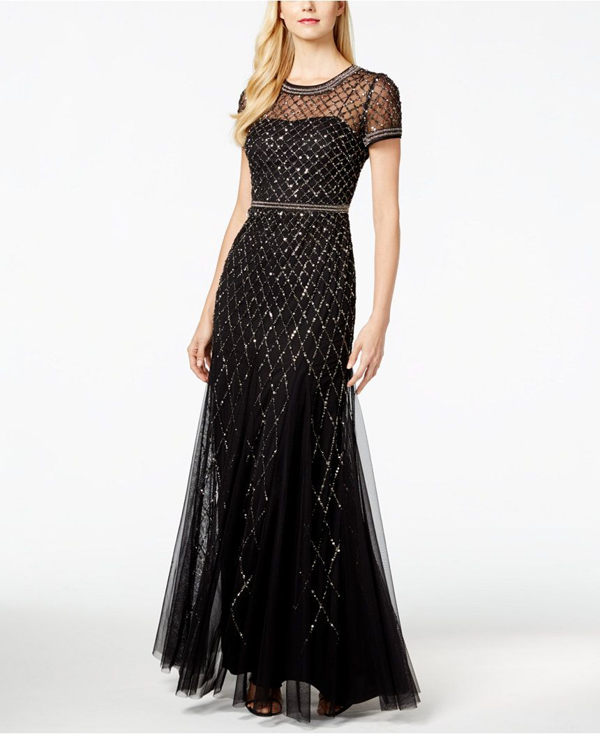 Adrianna Papell Sequined Bead-Trim Ball Gown - Juniors Shop All Prom ...