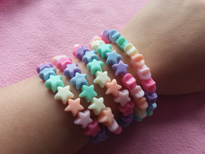 Kawaii pastel rainbow goth bow kandi bracelets fairy kei gothic punk summer jewelry harajuku bead beads fesitival rave beaded bracelets