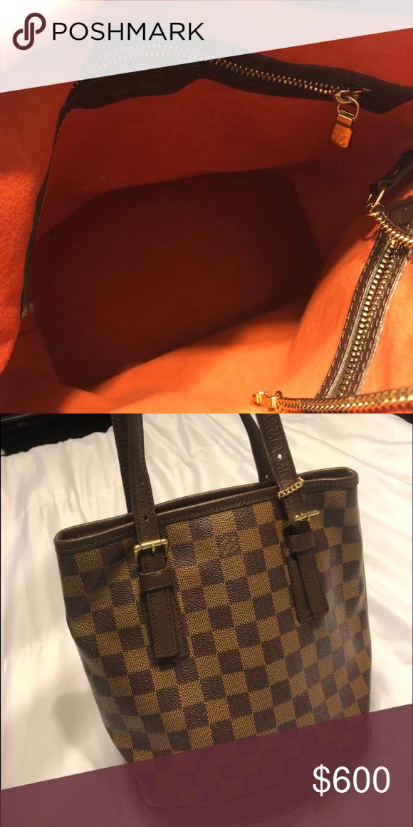 90eefe58fa85 Louis Vuitton Damier Ebene Petit Bucket Brown and tan bucket bag with brass  hardware