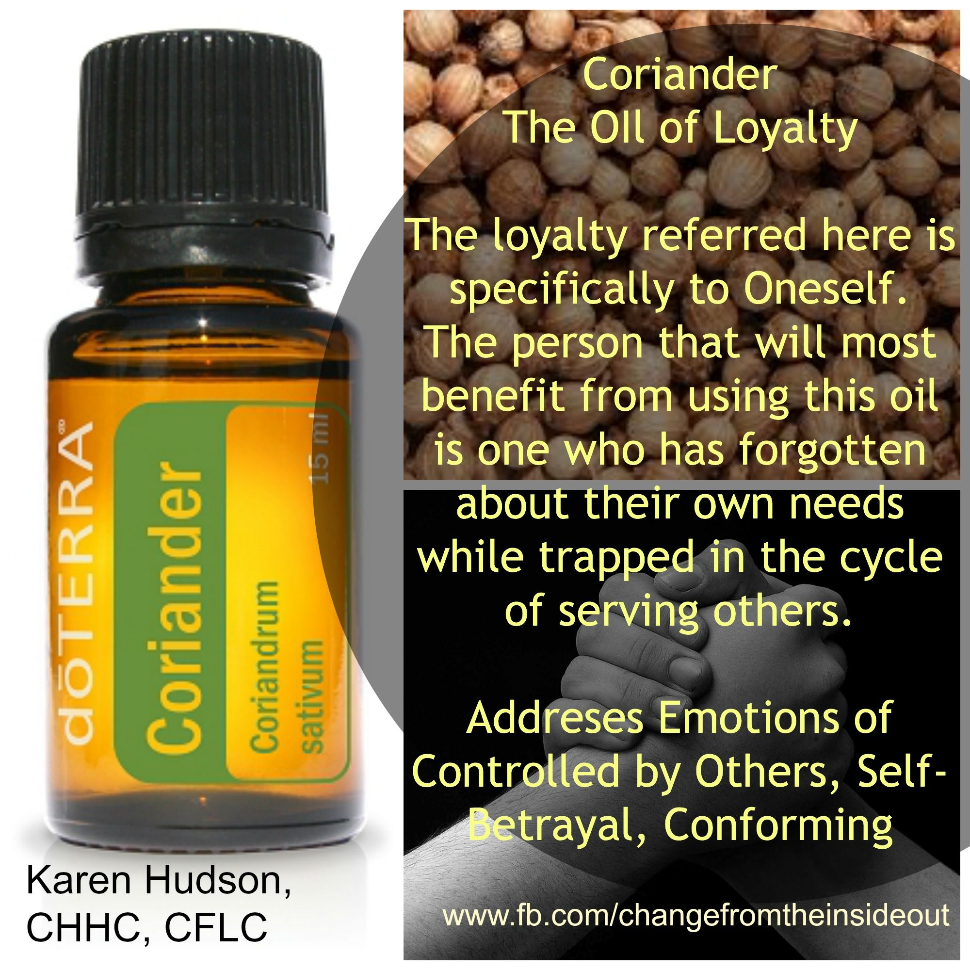 coriander, an oil of loyalty to self. a reminder to return