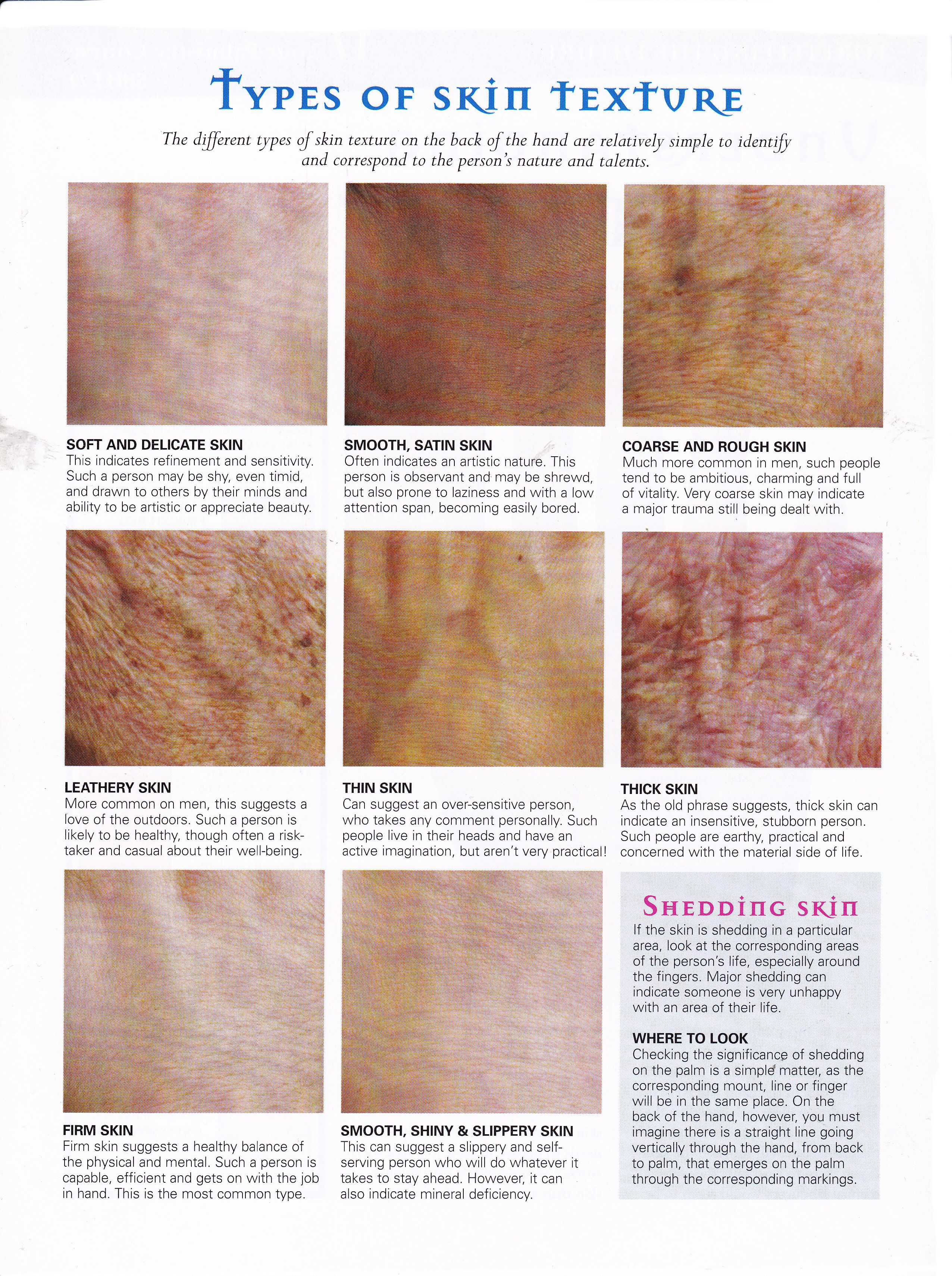 Divination Palmistry Types Of Skin Texture