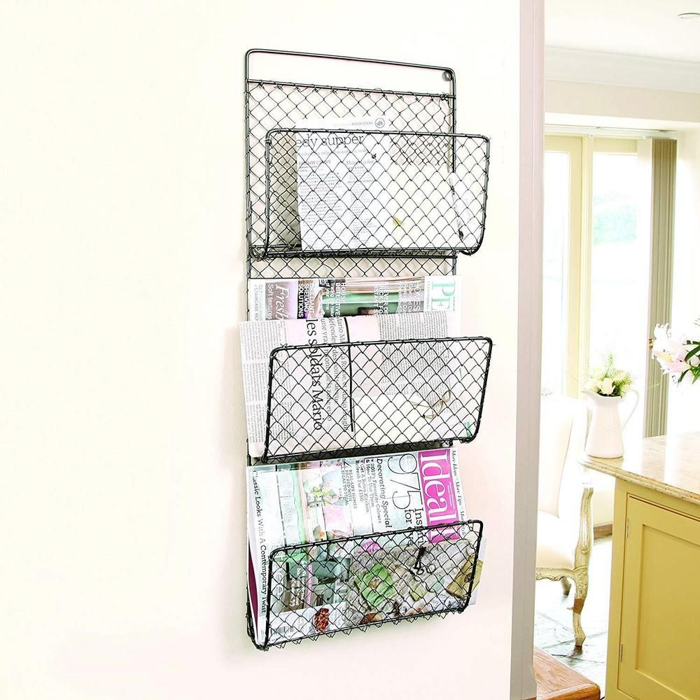 Wall Mounted 3 Compartment Metal Post And Magazine Rack Letters Storage Holder Magazine Rack Wall Magazine Rack Bathroom Storage Solutions