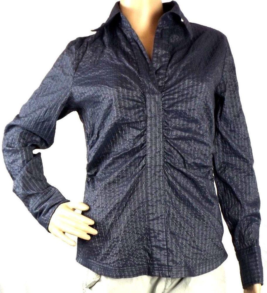 New York & Company Stretch Navy White Long Sleeve Shirt Blouse Size 8 #NewYorkCompany #Blouse #Career