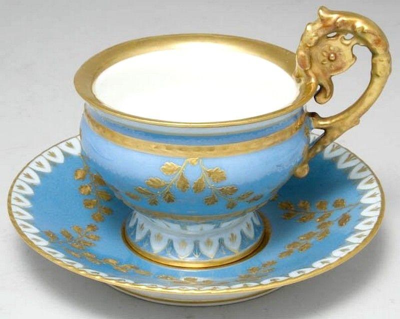 Limoges Porcelain (France) — Cup and Saucer  (800x639)