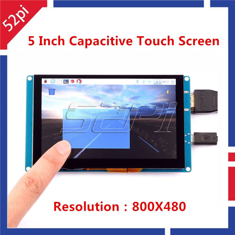 52Pi 5 inch 800*480 Display Capacitive Touch Screen Monitor for