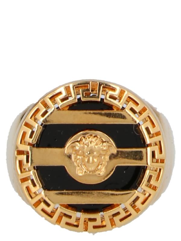 Versace Medusa Ring In D410 Gold Modesens Gold Signet Ring Versace Gold Versace Ring
