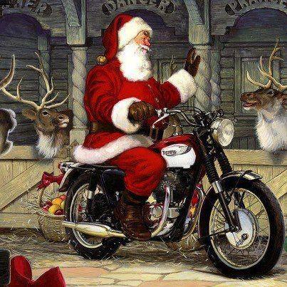 Christmas Motorcycle Santa Motorcycle Christmas Santa Art