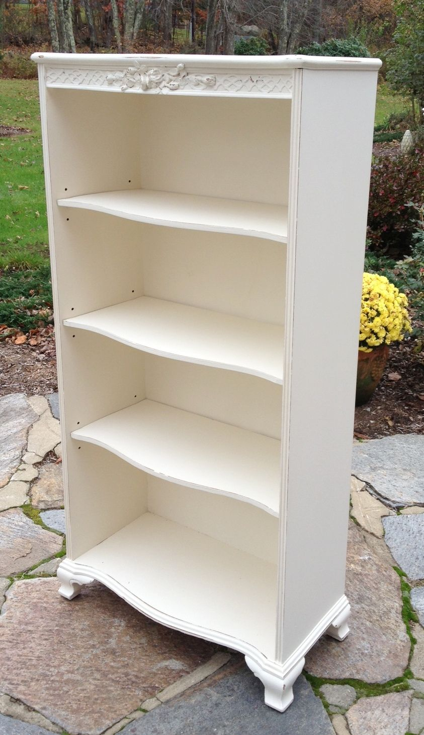 Large Slimline Shabby Chic Bookcase artwork – White Bookcases for Sale