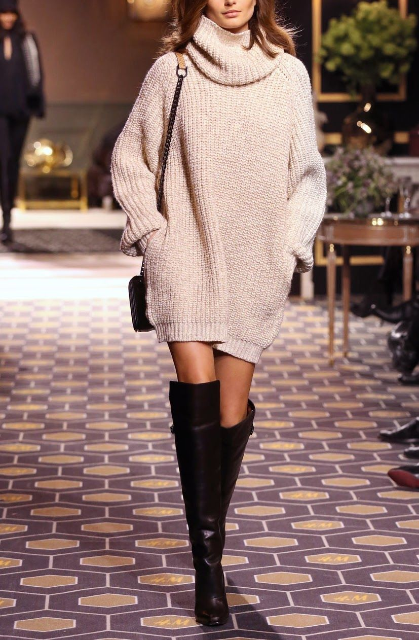 Oversized Sweater With Thigh High Boots Look Book Pinterest