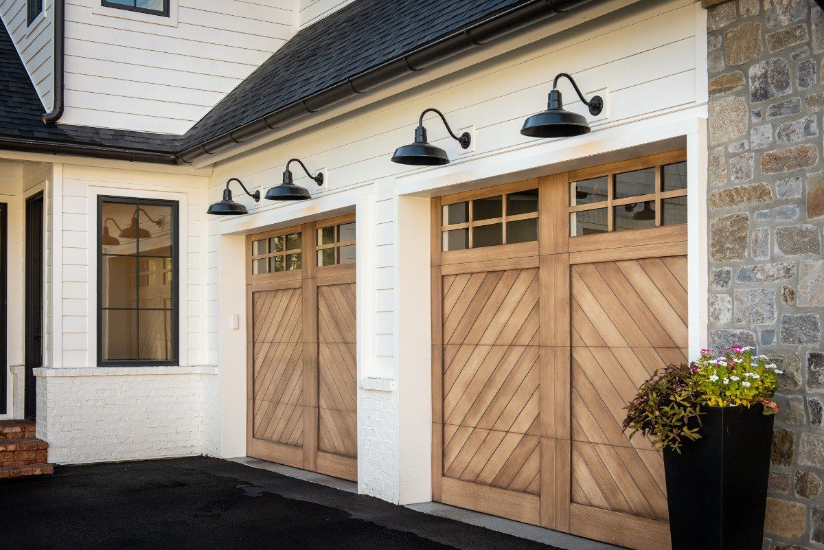 Grove Farmhouse Home By Rakyon Construction Garage Door Design