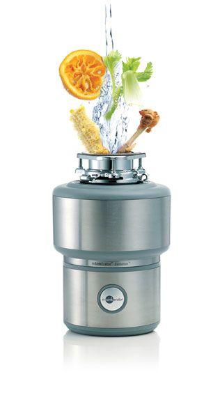 - Triturador de resíduos orgânicos, da InSinkErator.</br>- Elimina de forma prática, higiênica e segura as sobras e restos de frutas (cascas e caroços), legumes, ossos, cascas de ovos, entre outros resíduos orgânicos.</br>- Os resíduos são triturados e eliminados pela tubulação de esgoto.</br>- Diminui o uso de sacos e sacolas plástica.
