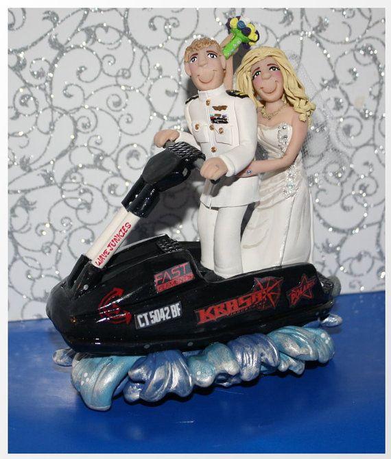 Standup Jet Ski Wedding Cake Topper Personalized