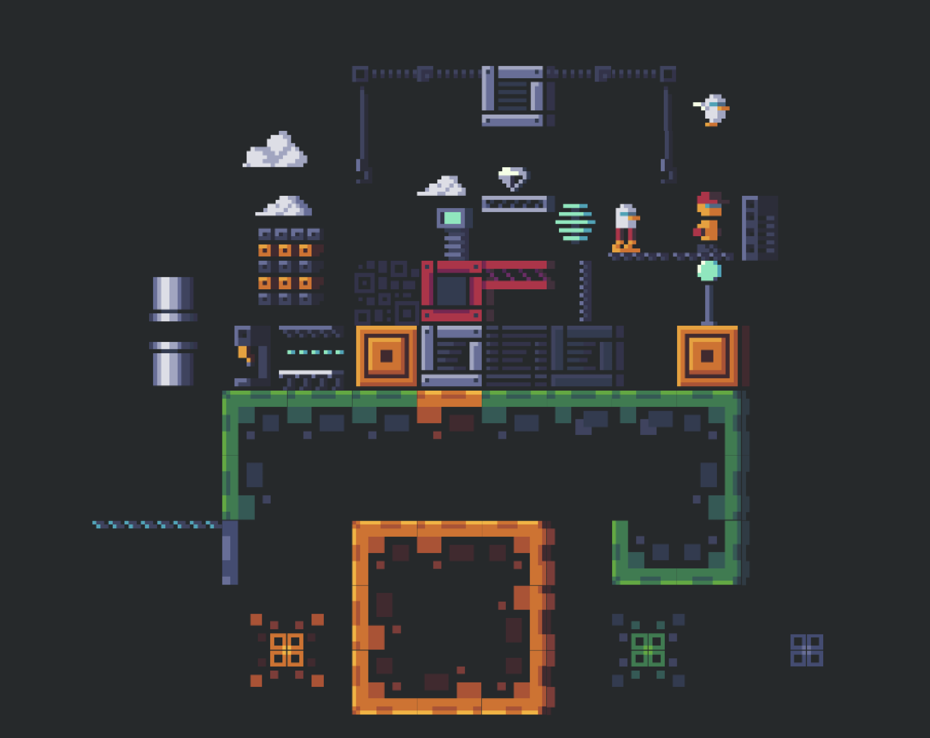 "16X16 Tileset 2d ""factory"" 16x16 mini tileset 