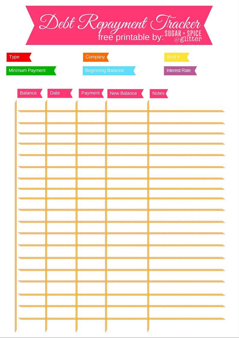 worksheet Debt Payoff Worksheet free debt repayment printable money pinterest printable