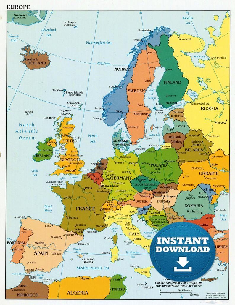 high res map of europe Digital Modern Map of Europe Printable Download. Large Europe