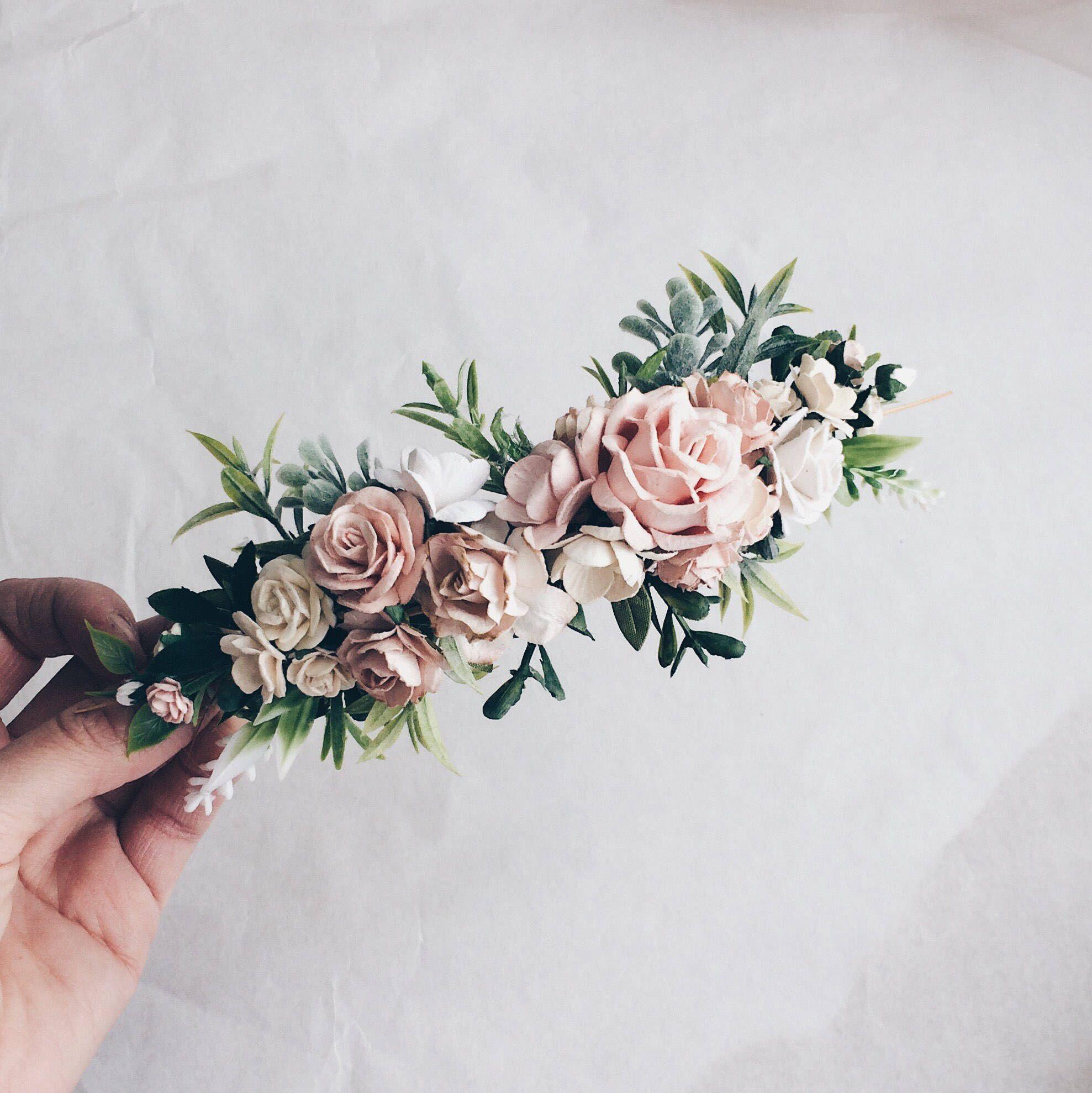 Pale pink and white and grenery headpiece, floral hair piece, pale pink hair clip, bridal hair piece, blush pink quarter wreath, bri #bridalhair