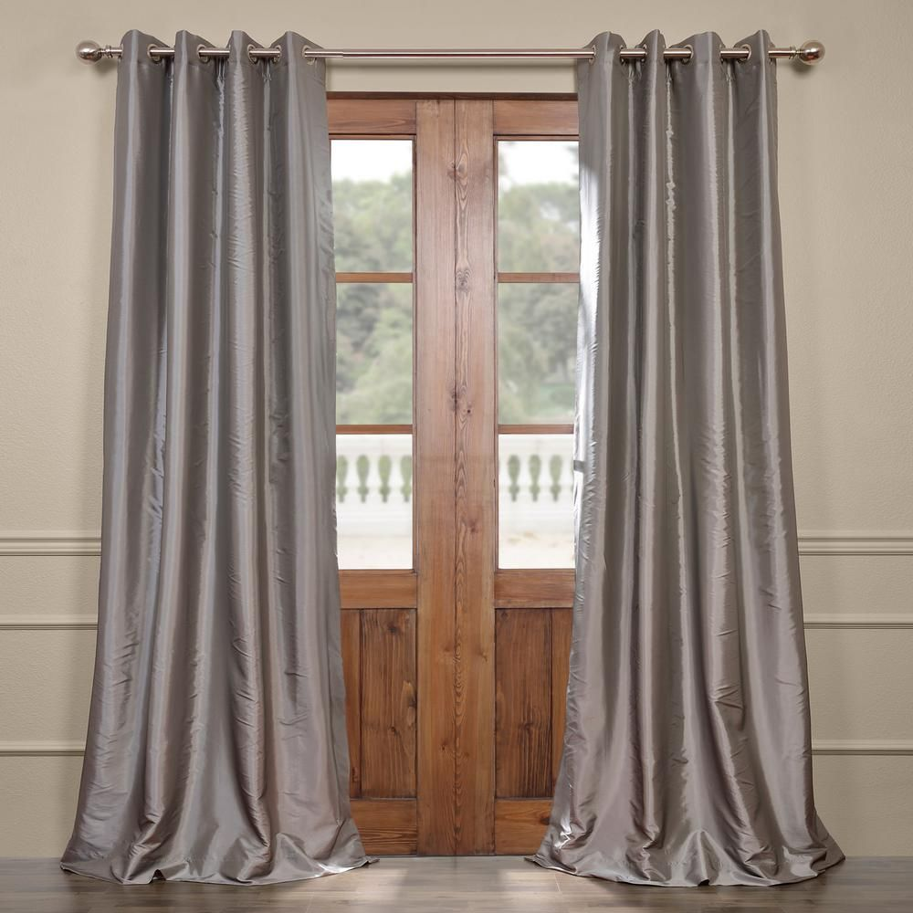 Exclusive Fabrics Furnishings Platinum Gray Grommet Blackout Faux Silk Taffeta Curtain 50 In W X 84 In L Ptch B112 84 Gr The Home Depot Half Price Drapes Furnishings Panel Curtains