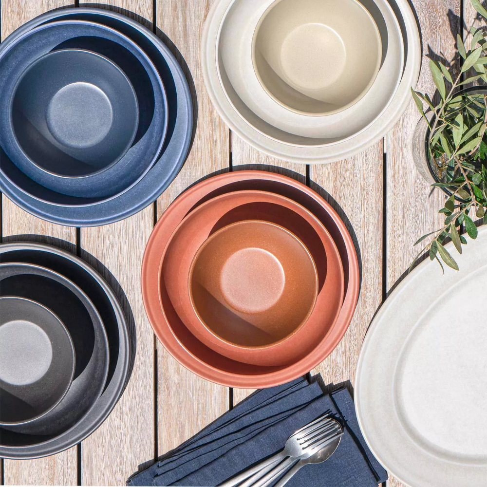 10 5 Melamine And Bamboo Dinner Plate Dark Blue Threshold In 2020 Dinner Bowls Dinner Plates White Dinner Plates