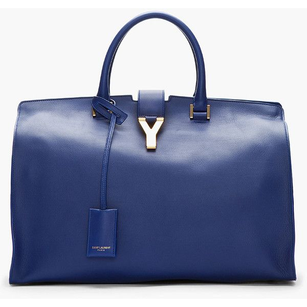 SAINT LAURENT Royal Blue Leather Chyc Tote ($2,950) ❤ liked on Polyvore