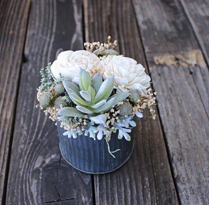 Low Budget Wedding Reception Ideas: Small Sola Wood Flower Arrangement, Wedding Reception