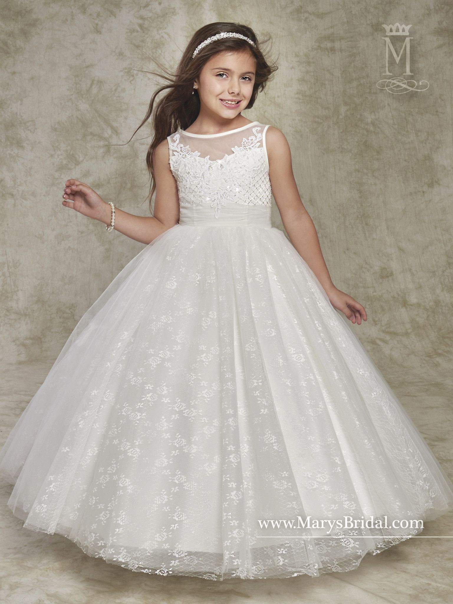 48eadf9cb7 Sleeveless Beaded Tulle Lace Flower Girl Dress by Mary s Bridal Cupids F538