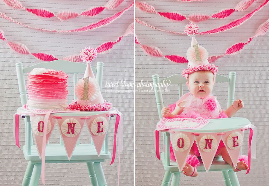 Bridgets Pink Ombre Party 1stbirthday Pinkombre Sweetbloomphotography Dayton Ohio 1st Birthday Photographer Sweet Bloom Photography Highchair