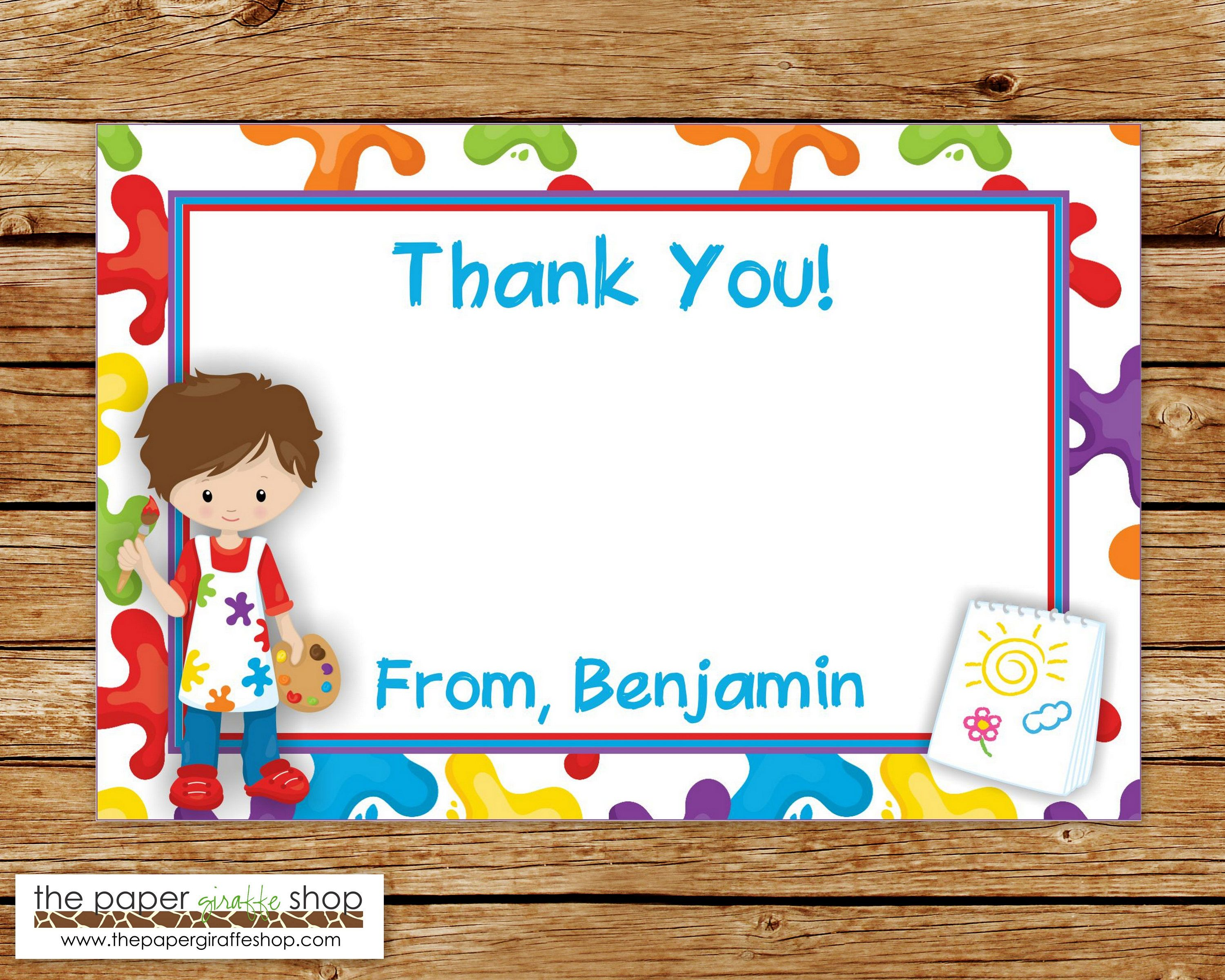 Art Party Thank You Card | Art Birthday Party Thank You | Crafting ...